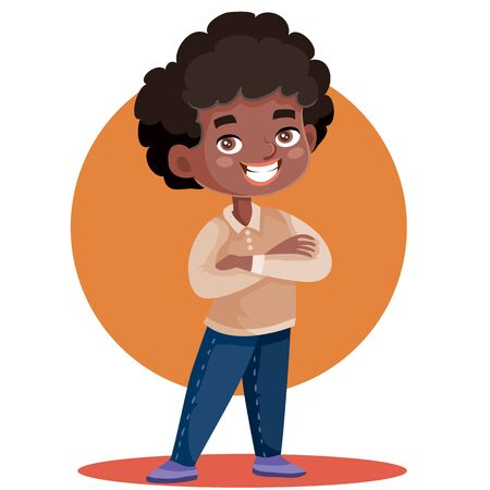 little boy african american important standing with his arms crossed, isolated object on a white background, vector illustration,