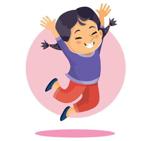 girl of Asian appearance bounces up in delight with arms raised up, isolated object on a white background, vector illustration, eps