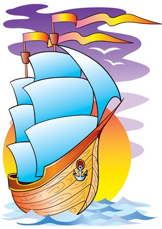big ship with big white sails in the sea, vector illustration, eps