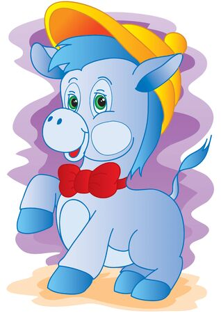 cute blue donkey character in a cap and with a red bow tie, vector illustration