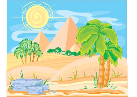 desert landscape with pyramids of palm trees and a small oasis in the sand, vector illustration