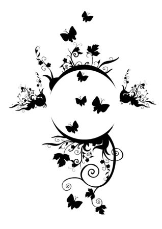 vignette in black color from plants and butterflies for lecture, isolated object on a white background, vector illustration