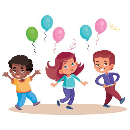 funny children celebrate happy holiday with balloons, isolated object on white background, vector illustration,