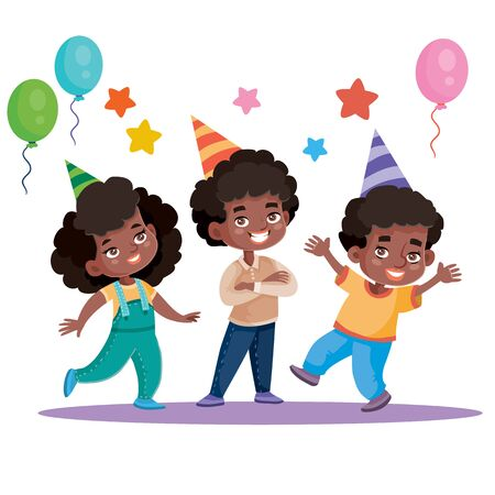 funny children celebrate happy holiday with balloons, isolated object on white background, vector illustration, eps Illustration