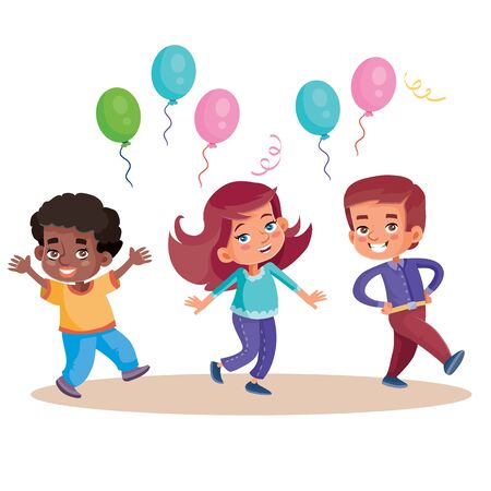 funny children celebrate happy holiday with balloons, isolated object on white background, vector illustration Illustration