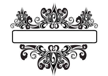 Vintage baroque victorian frame monogram border floral ornament leaf scroll engraving retro floral pattern decorative design tattoo black and white filigree calligraphic vector heraldic shield swirl, eps