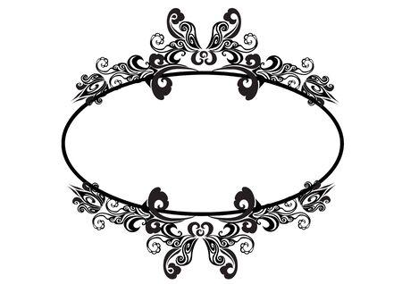 Vintage baroque victorian frame monogram border floral ornament leaf scroll engraving retro floral pattern decorative design tattoo black and white filigree calligraphic vector heraldic shield swirl Illustration