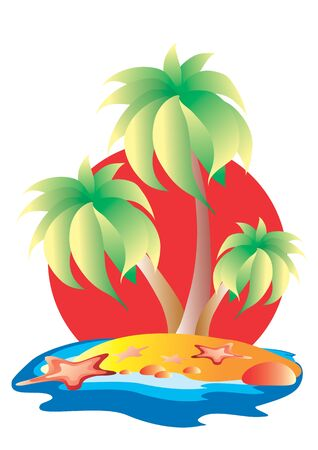 three palm trees on an island against the setting red sun, around the island there is water, isolated object on a white background, vector illustration