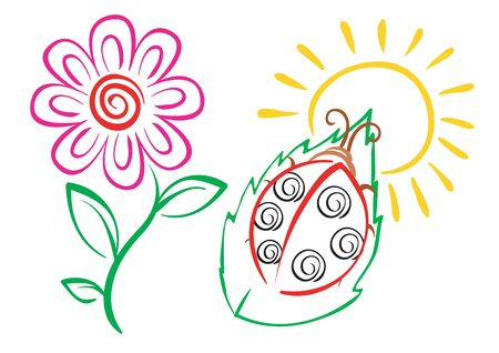 stylized set in color of a flower and a bug, isolated object on a white background, vector illustration
