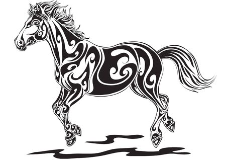 stylized horse in black gallops, isolated object on a white background, vector illustration Vettoriali