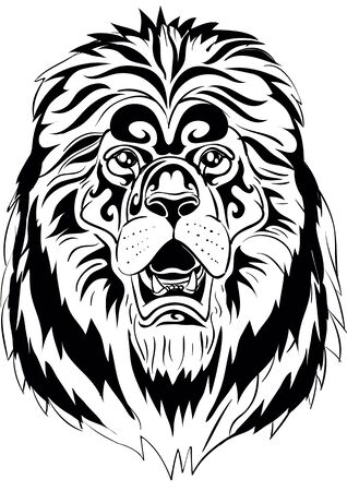 stylized lion head in black color, isolated object on a white background, logo, vector illustration