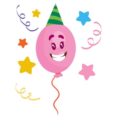 balloon character in a party hat, isolated object on white background, vector illustration Vektoros illusztráció