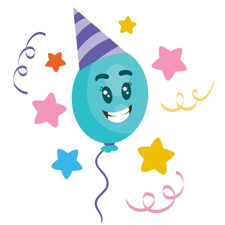balloon character in a party hat, isolated object on white background, vector illustration