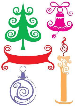 Christmas set of Christmas tree ball candles and banner for holiday decoration, isolated object on a white background, vector illustration, eps