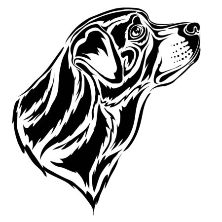 stylized rottweiler head in profile in black, isolated object on a white background, vector illustration