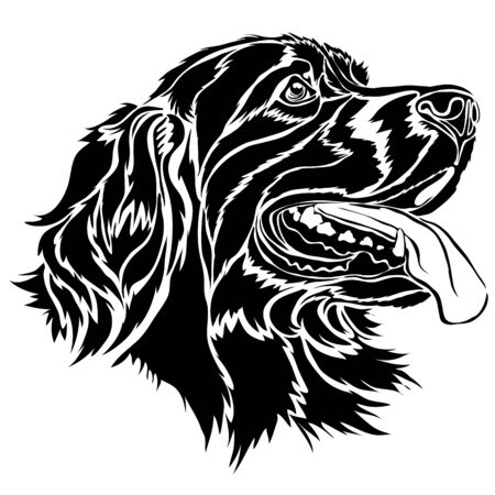 stylized setter head in black, isolated object on a white background, vector illustration Ilustrace