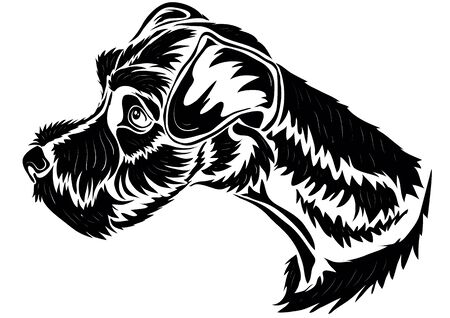 stylized terrier head in black, isolated object on a white background, vector illustration