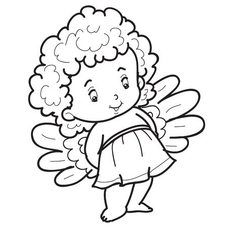 child angel character is drawn in outline, coloring, isolated object on white background, vector illustration