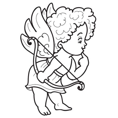the character of an angel child is drawn in the contour, holds a luket in his hands and looks with interest, sketch, coloring, isolated object on a white background, vector illustration, Vectores