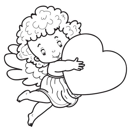 child angel character is drawn in outline holding a heart in his hands, sketch, coloring, isolated object on a white background, vector illustration,