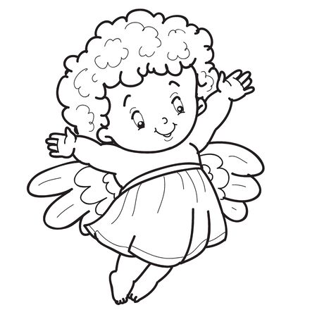 child angel character is drawn in outline, coloring, isolated object on white background, vector illustration,