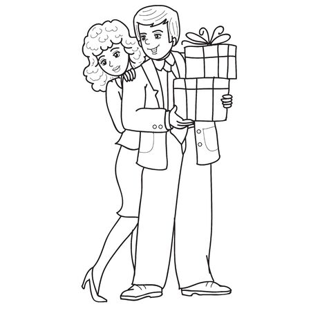 man and woman hold gifts together, sketch, outline drawing, isolated object on a white background, vector illustration Vektoros illusztráció