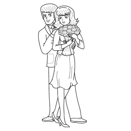 man and woman hold flowers together, sketch, outline drawing, isolated object on a white background, vector illustration