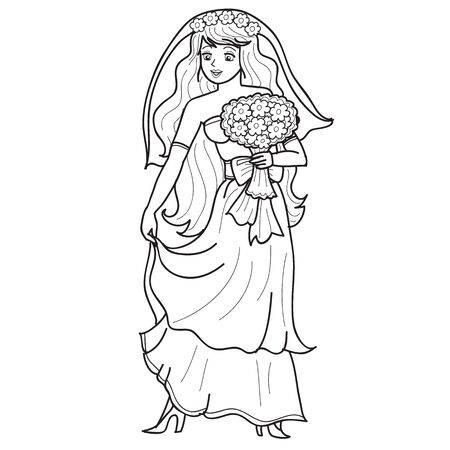 bride holds a large bouquet of flowers in her hands, sketch, isolated object on a white background, vector illustration
