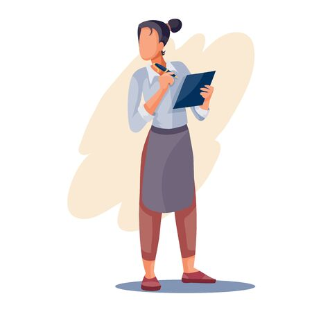 girl the waiter writes the order in his big notebook, isolated object on a white background, vector illustration,