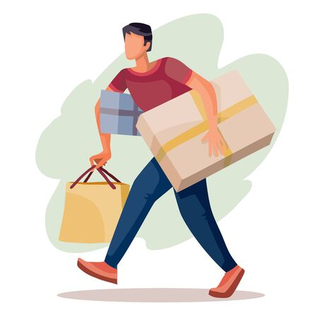 man carries a large number of purchases and boxes, isolated object on a white background, vector illustration,