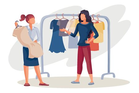 a woman in trousers and with a red bag in a store wants to buy a dress, the seller a woman offers her options, vector image,