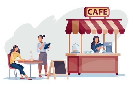 a woman sits on the street at a stokiokm next to a cafe and the waiter serves it, the seller stands at the cash desk in a cafe, vetory illustration, Illustration