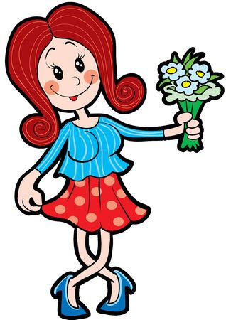 girl crouched in a gallant bastard and holds a bouquet in her hands, isolated object on a white background, vector illustration Çizim