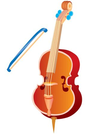 violin and bow, isolated object on a white background, vector illustration, eps