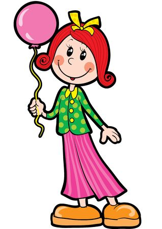 girl with a bow on her head and a balloon in her hands, isolated object on a white background, vector illustration, eps