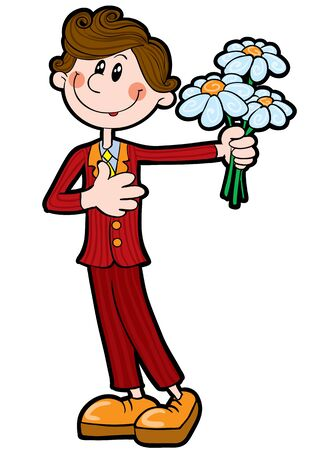 boy in caricature style holding a bouquet of flowers in his hands, isolated object on a white background, vector illustration Illustration