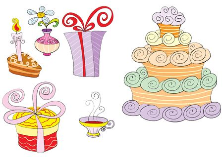 set of cake, coffee, gift and flower, isolated object on a white background, vector illustration, eps