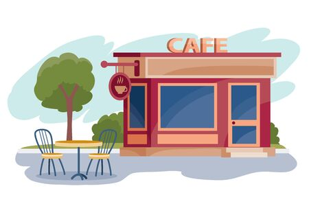 next to the cafe there is a table with two chairs under a green tree, isolated object on a white background, vector illustration, Vectores