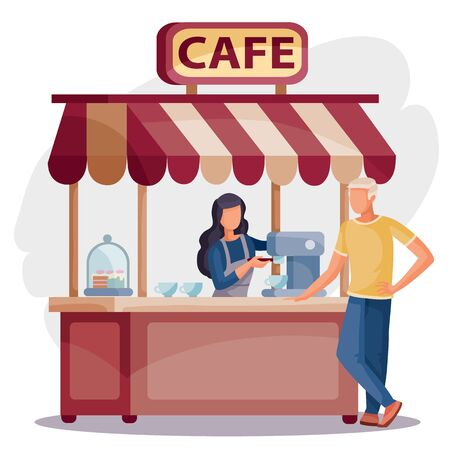 woman in a cafe stands at the cash register and sells coffee to the buyer to the man, isolated object on a white background, vector illustration,