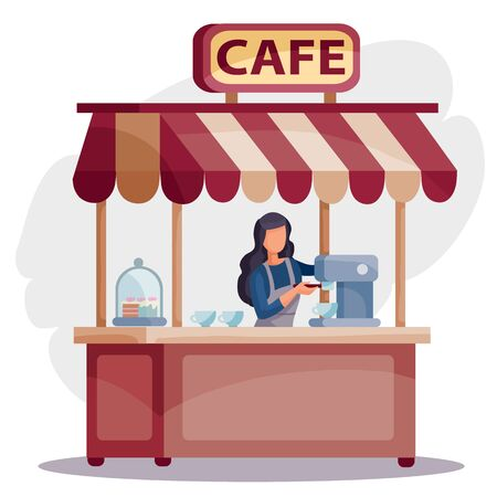 woman in a cafe stands at the cash register and makes coffee, isolated object on a white background, vector illustration,