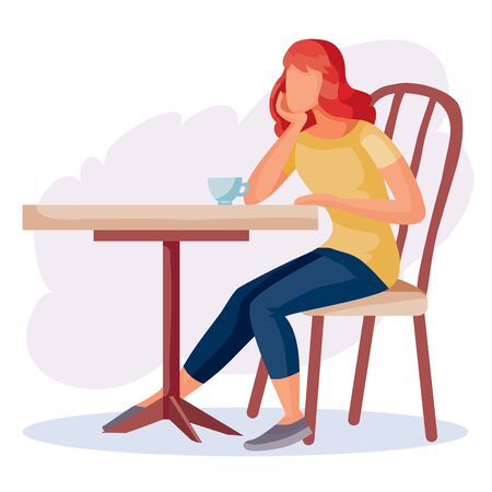 woman came to a cafe on a date and sits alone at a square table and waits, isolated object on a white background, vector illustration