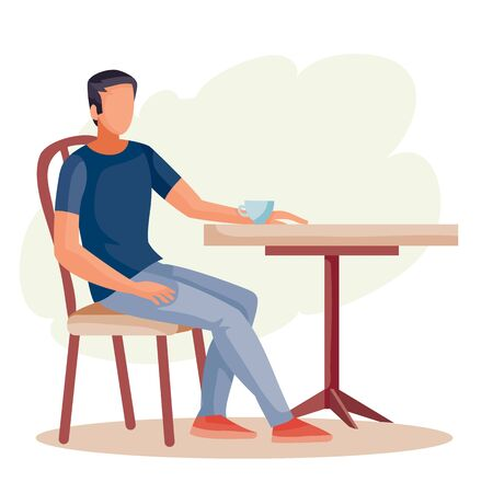 man sitting alone at the round table, loneliness, isolated object on a white background,