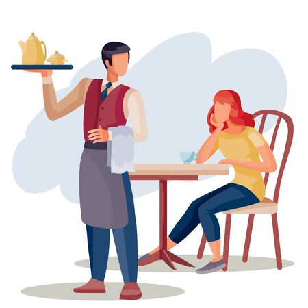 a girl is sitting at a coffee table and a waiter is standing next to her, the waiter brought tea or coffee on a tray, isolated object on a white background, vector illustration,