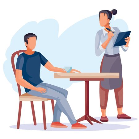 a man sits at a coffee table and a waiter girl stands next to her, she writes his order in her big notebook, isolated object on a white background, vector illustration,