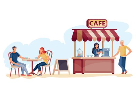 in a cafe on the street, a man and a woman are sitting at a table, the seller is standing at the checkout and giving a check to another man, vector illustration,
