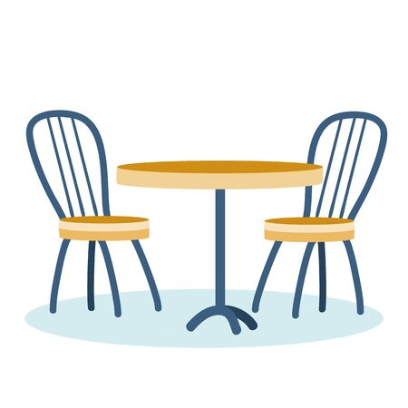 two chairs and a table for a cafe or restaurant, isolated object on a white background, vector illustration, Vectores