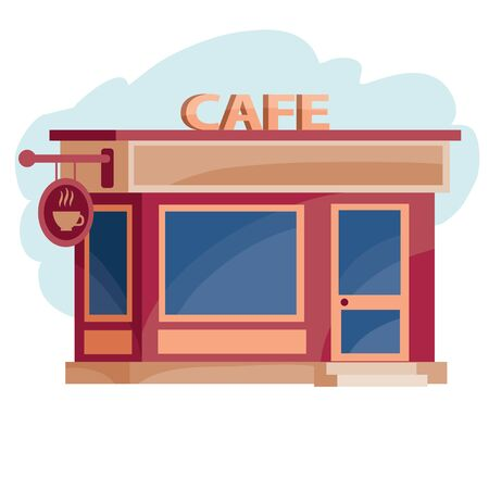 red cafe building, isolated object on white background, vector illustration,