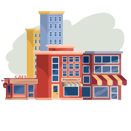 city buildings, cityscape of pulp, shops, isolated object on a white background, vector illustration,