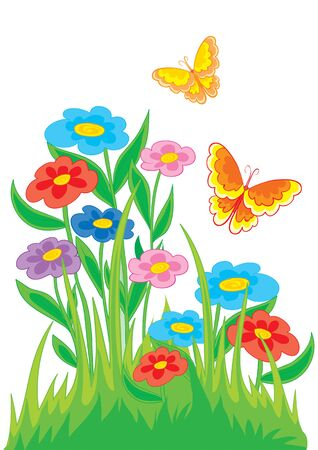 flowerbed with colorful flowers and butterflies, isolated object on a white background, vector illustration, eps