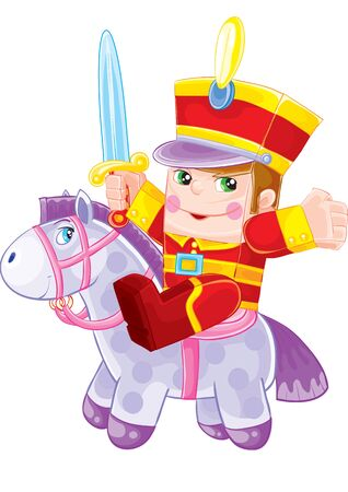 cute nutcracker toy with saber and toy horse, isolated object on white background, vector illustration, eps